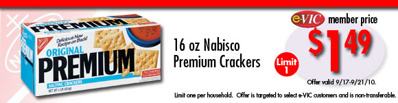 Nabisco Premium Crackers - 16 oz : eVIC Member Price - $1.49 - Limit 1