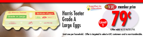 Harris Teeter Grade A Large Eggs - 1 Dozen : eVIC Member Price - $0.79 - Limit 1!