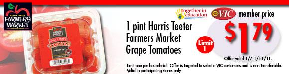 Harris Teeter Farmers Market Grape Tomatoes - 1 pt : eVIC Member Price - $1.79 ea - Limit 1