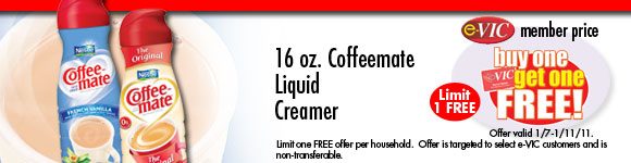 Coffeemate Liquid Creamer - 16 oz : eVIC Member Price - Buy One Get One FREE - Limit 1 FREE