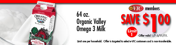 Organic Valley Omega 3 Milk - 64 oz : eVIC Member Price - Save $1.00 - Limit 1