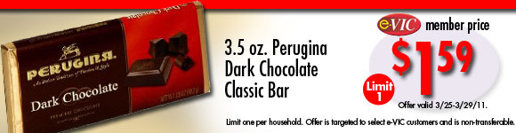 Perugina Dark Chocolate Classic Bar - 3.5 oz : eVIC Member Price - $1.59 ea - Limit 1