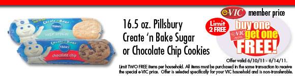 Pillsbury Create 'n Bake Sugar or Chocolate Chip Cookies - 16.5 oz : eVIC Member Price - BUY ONE GET ONE FREE - Limit 2 FREE