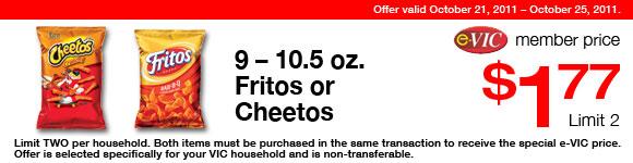Fritos or Cheetos - 12.5-14 oz : eVIC Member Price - $1.77 ea - Limit 2