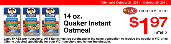 Quaker Instant Oatmeal - 14 oz : eVIC Member Price - $1.97 ea - Limit 3