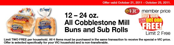 All Cobblestone Mill Buns and Sub Rolls - 12-24 oz : eVIC Member Price - BUY ONE GET ONE FREE - Limit 2 FREE
