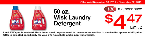 Wisk Laundry Detergent -  50 oz : eVIC Member Price - $4.47 ea - Limit 2