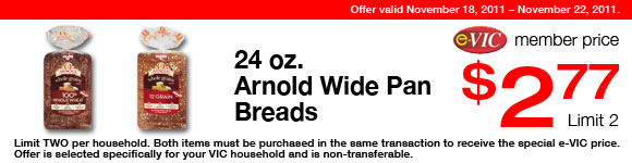 Arnold Wide Pan Breads -  24 oz : eVIC Member Price - $2.77 ea - Limit 2