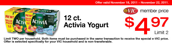 Activia Yogurt - 12 ct : eVIC Member Price - $4.97 ea - Limit 2