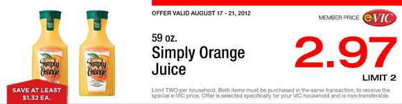 Simply Orange Juice - 59 oz : eVIC Member Price - $2.97 ea - Limit 2