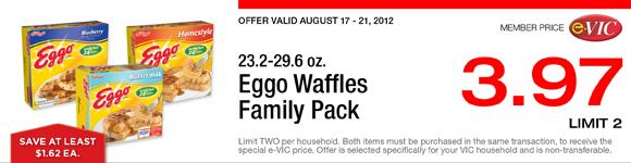 Eggo Waffles Family Pack - 23.2-29.6 oz : eVIC Member Price - $3.97 ea - Limit 2