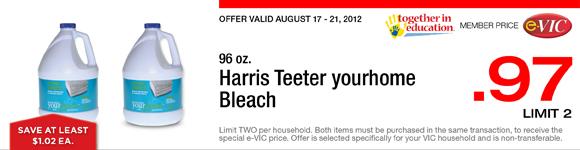 Harris Teeter yourhome Bleach - 96 oz : eVIC Member Price - $0.97 ea - Limit 2