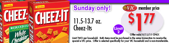 Cheez-Its - 11.5-13.7 oz : eVIC Member Price - $1.77 ea - Limit 2